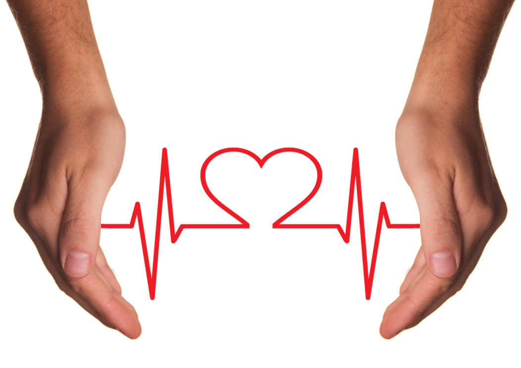 Two hands are connected with a red heart beat in heart shape
